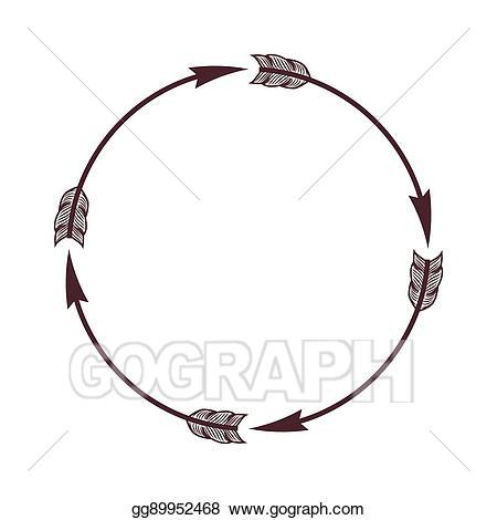 Vector arrow border illustration. Boho clipart circle