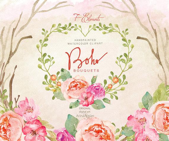 Boho clipart clip art. Bouquets watercolor flowers floral