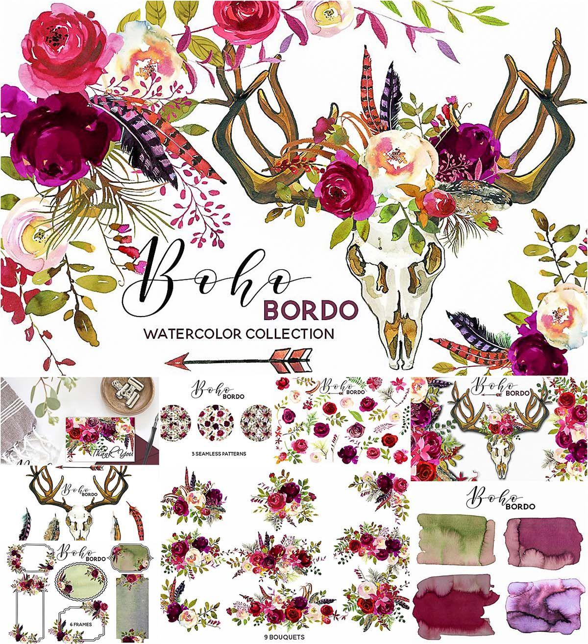 Boho clipart clip art. Marsala watercolor flowers free