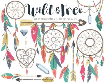 Etsy tribal set dream. Boho clipart clip art