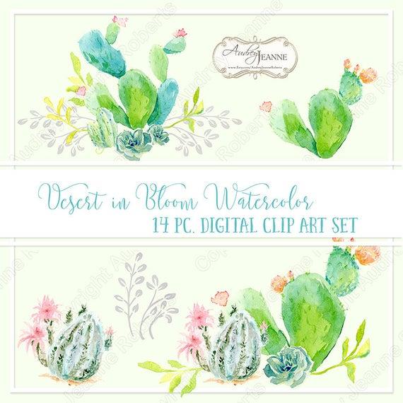 Watercolor cactus floral digital. Boho clipart clip art
