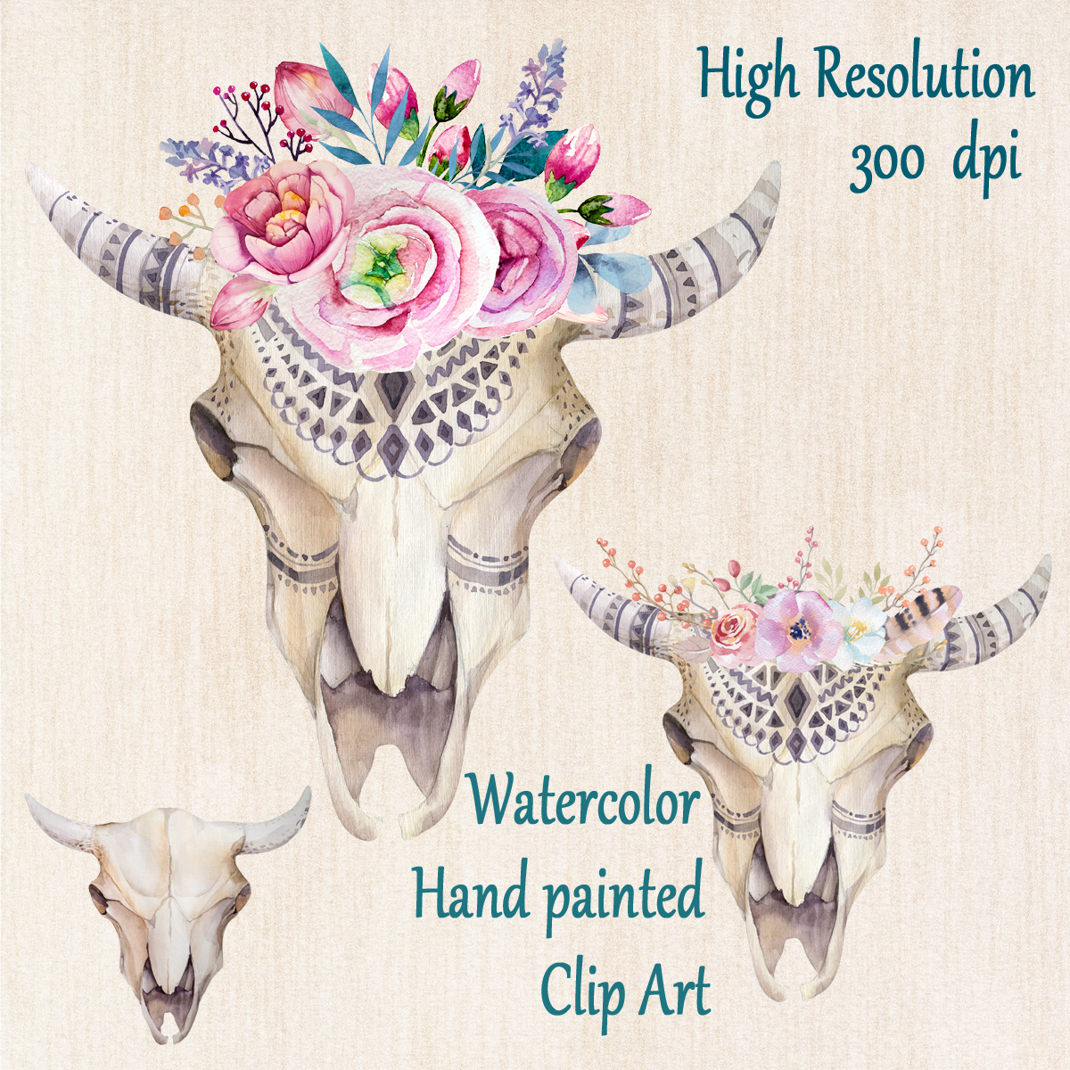 Boho clipart clip art. Watercolor tribal scull bull