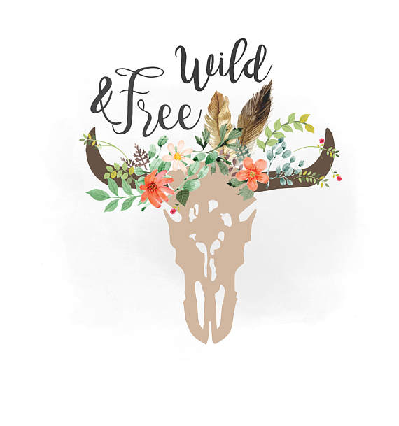 Boho clipart cow skull. Wild and free svg