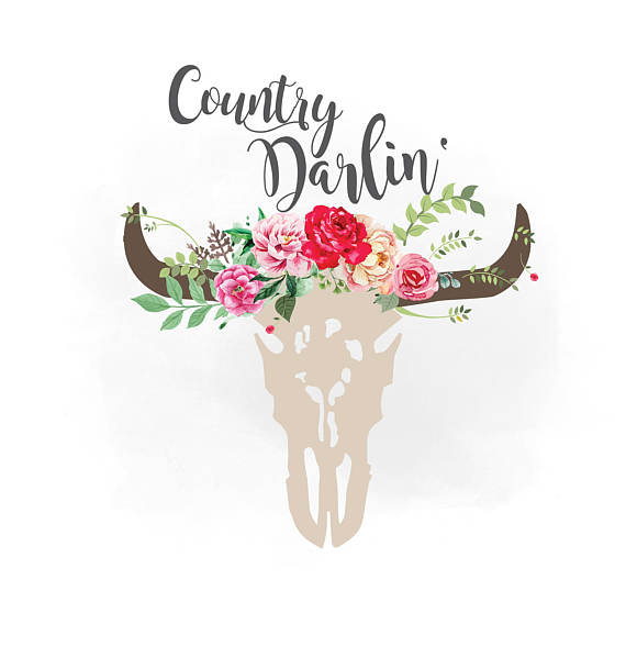 Country darlin svg floral. Boho clipart cow skull