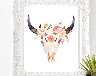 Stay wild nursery art. Boho clipart cow skull