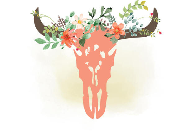 Boho clipart cow skull. Svg floral bull western