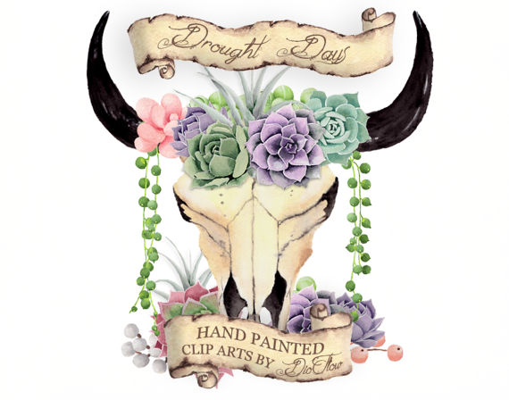 Boho clipart cow skull. Watercolor succulent bull succulents