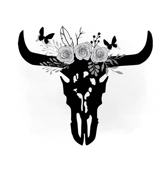 Boho clipart cow skull. Monochrom svg floral