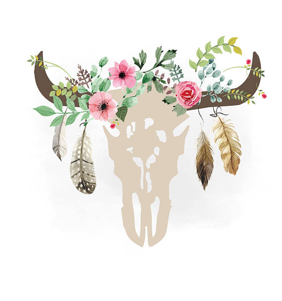 Gypsy svg floral . Boho clipart cow skull
