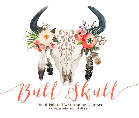 Watercolor bull set wedding. Boho clipart cow skull