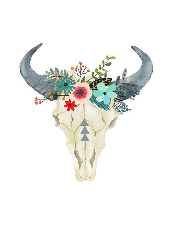Bull printable art tribal. Boho clipart cow skull