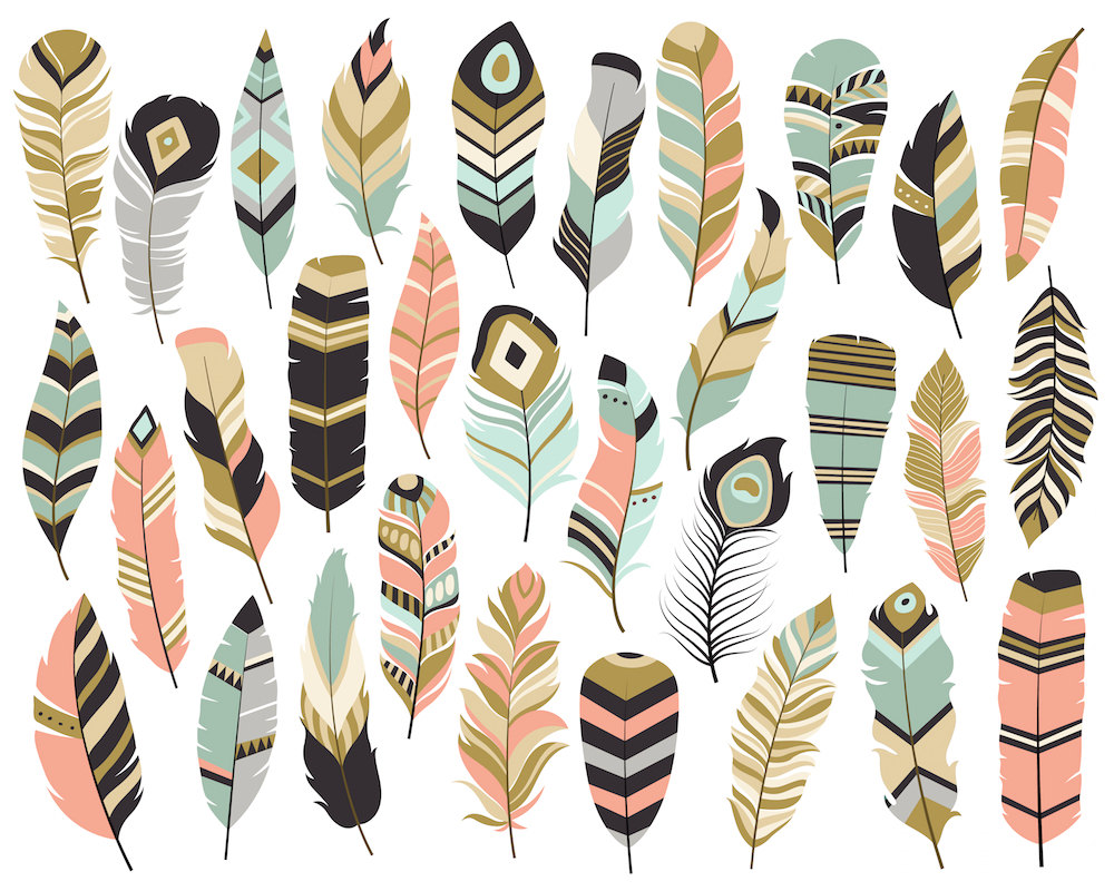 Boho clipart cute. Tribal feathers set of