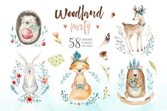 Watercolor nursery animals digital. Boho clipart cute