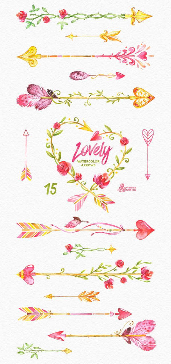 Lovely watercolor arrows hand. Boho clipart cute
