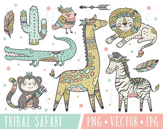 Boho clipart cute. Safari animals tribal clip