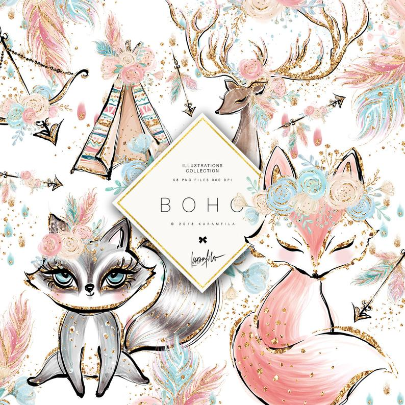 Animals fox racoon deer. Boho clipart cute