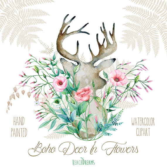 With flowers hand painted. Boho clipart deer