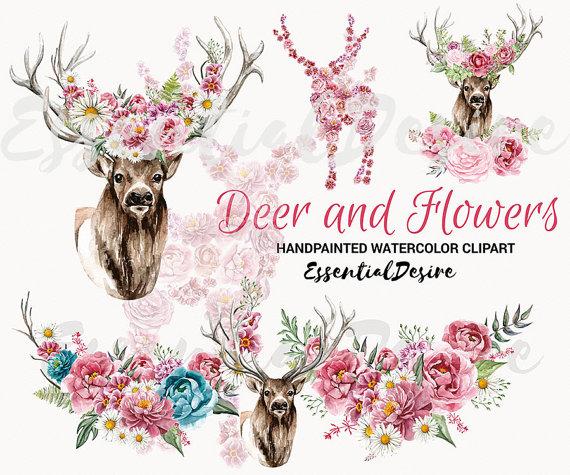 Boho clipart deer. Watercolor antlers floral rustic