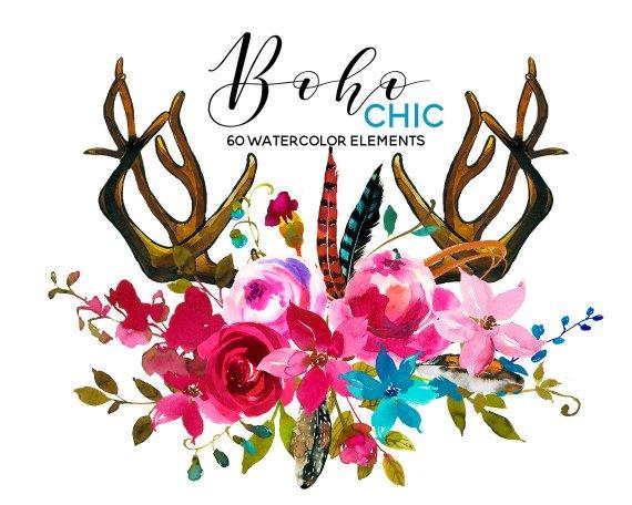 Watercolor pink blue flowers. Boho clipart deer