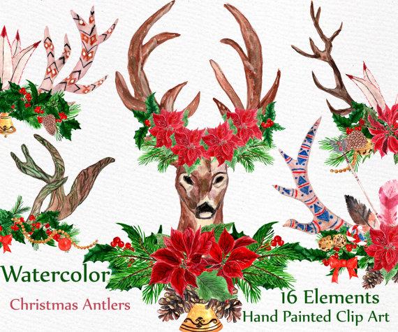 Boho clipart deer. Christmas watercolor clip art