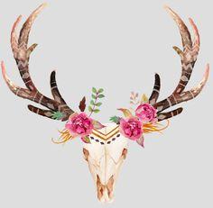 Bohemian art skull with. Boho clipart deer