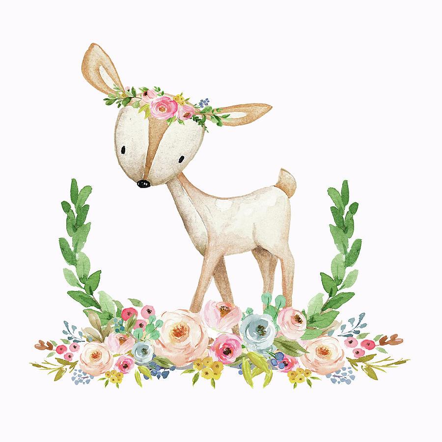 Boho clipart deer. Woodland baby nursery floral