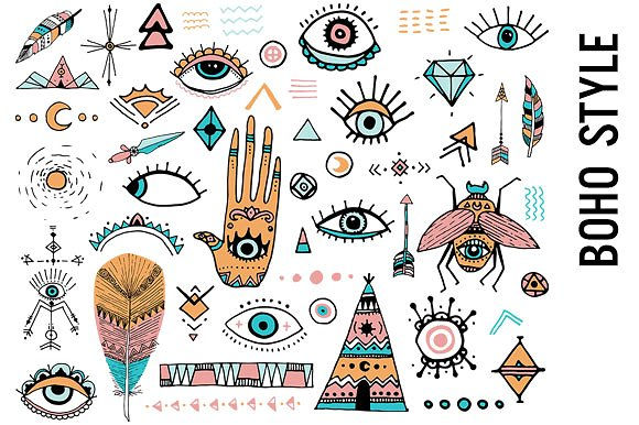 Style doodle illustrations creative. Boho clipart doodles