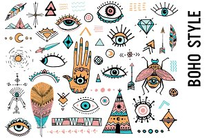 Boho clipart doodles. Style doodle