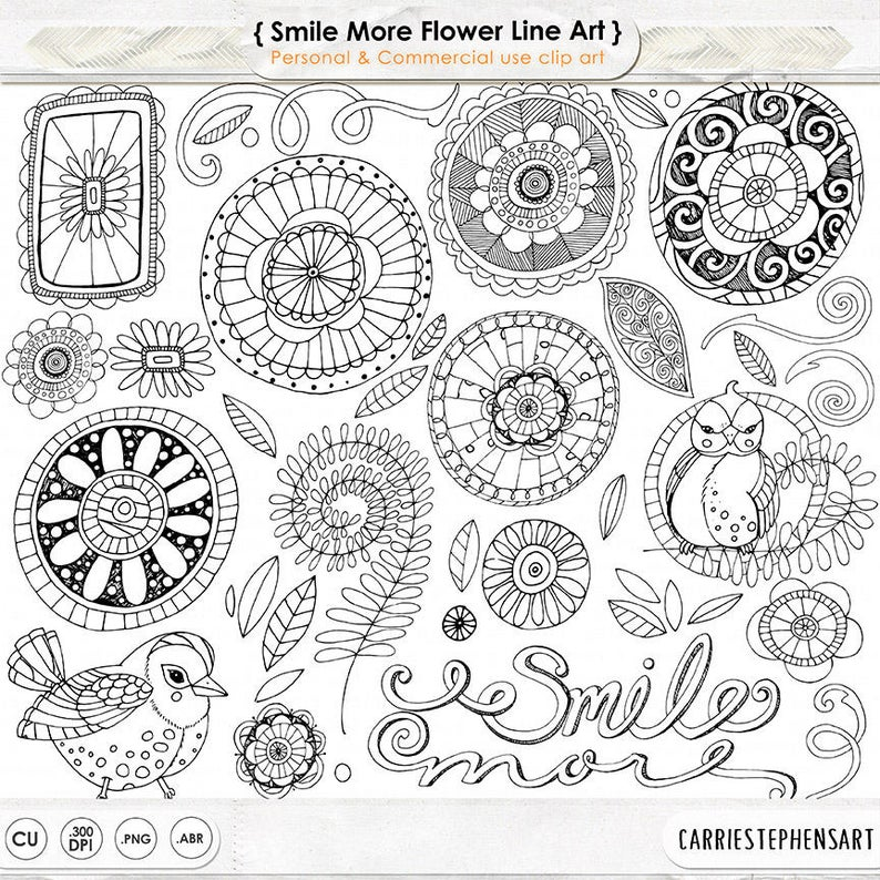 Doodle flowers digital flower. Boho clipart doodles