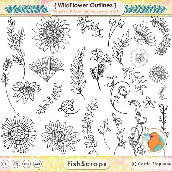 Bohemian wild flower digital. Boho clipart doodles