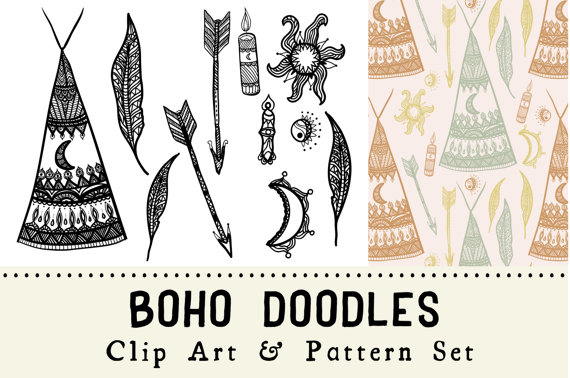 Items similar to digital. Boho clipart doodles