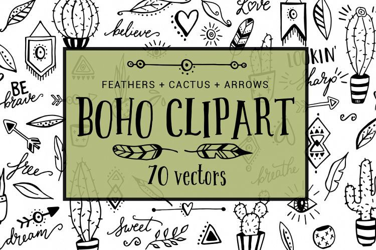 Boho clipart doodles. Cactus feather arrow do