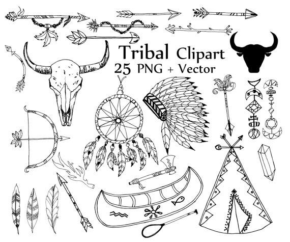 Boho clipart doodles. Tribal clip art doodle