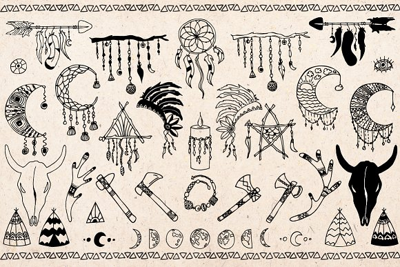 Boho clipart doodles. Hand drawn objects creative