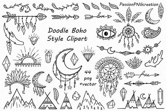 Boho clipart doodles. Pin by etsy on