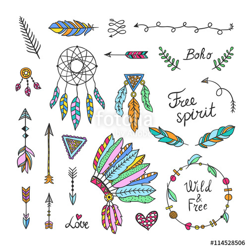 Style elements hand drawn. Boho clipart drawing