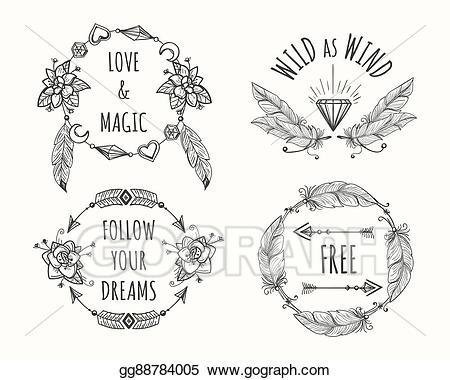 Vector art boho tribal. Feathers clipart logo