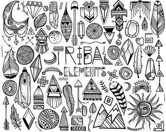 Boho clipart drawing. Etsy tribal hand sketched