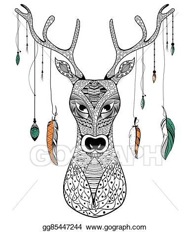 Vector art tribal style. Boho clipart drawing