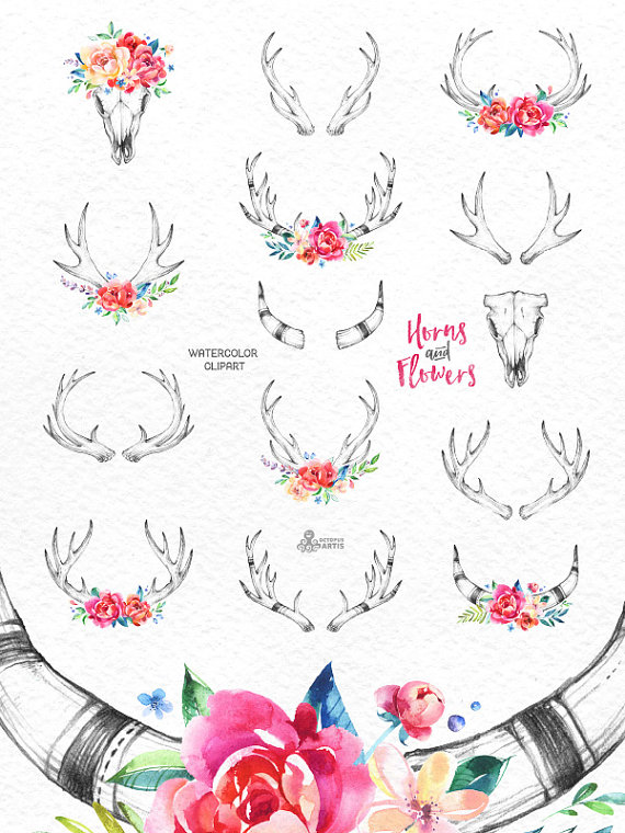 Boho clipart drawing. Horns flowers watercolor floral