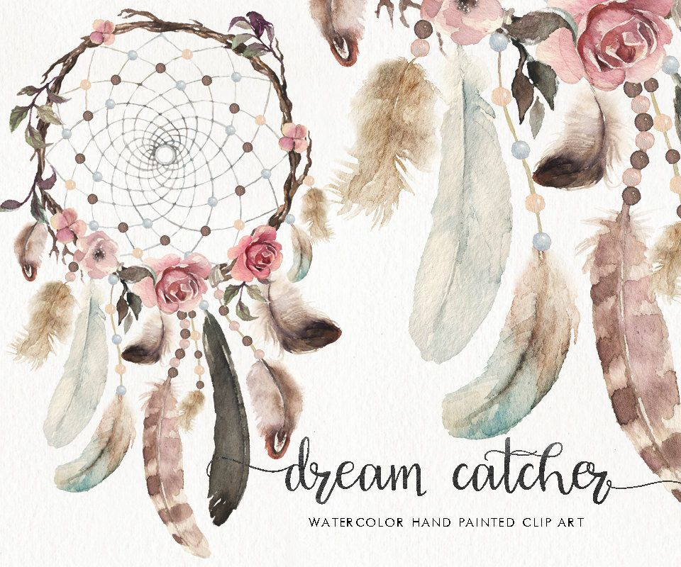 Watercolor catcher feather flower. Boho clipart dream catchers