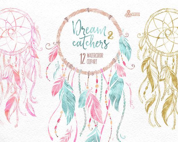 Dreamcatchers watercolor tribal feathers. Boho clipart dream catchers