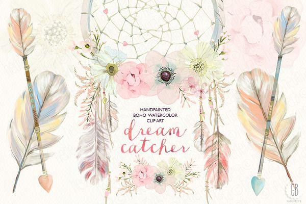 Watercolor floral dreamcatcher by. Boho clipart dream catchers