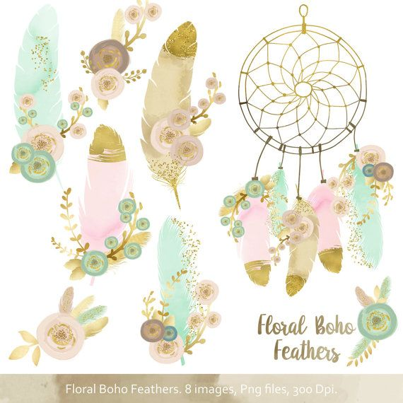 Boho clipart dream catchers. Floral feathers catcher and