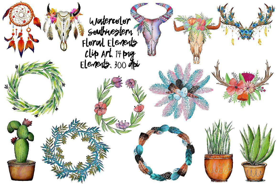 Boho clipart element. Watercolor ad this set