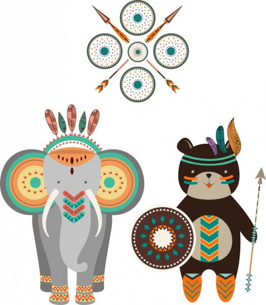 Boho clipart element. Tribal design elements various