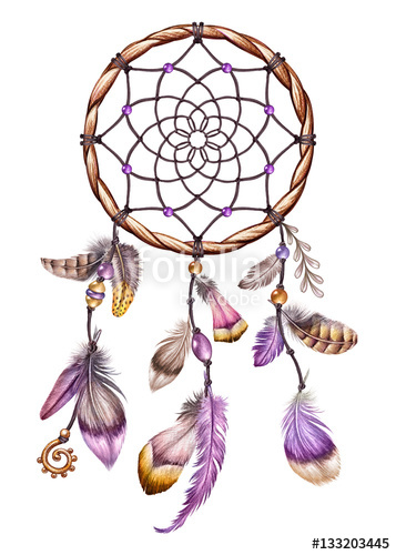 Watercolor illustration dream catcher. Boho clipart element