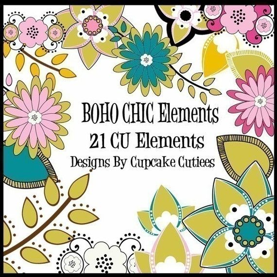 Chic clip art digital. Boho clipart element