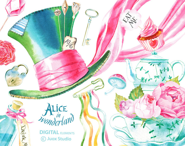 Alice in wonderland watercolor. Boho clipart element