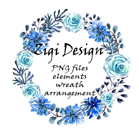 Boho clipart element. Wreath flower blue floral